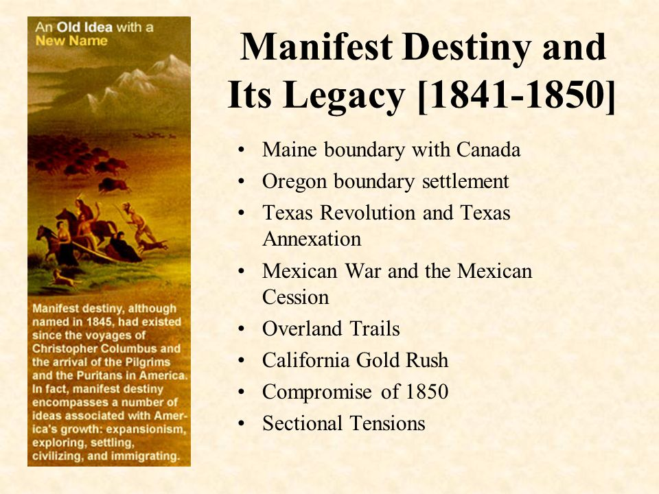 the fulfillment of americas expansion through manifest destiny How did the us fulfill manifest destiny the mexican american war got us new mexico  who fulfilled the manifest destiny.